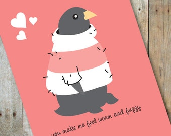 Warm and Fuzzy Penguin Love, Anniversary Card
