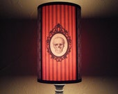 Gothic Skull orange Lamp Shade Lampshade - goth decor, unique lighting, Halloween light, skull housewares, striped lampshade, customizable