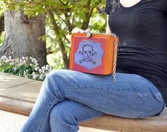 SALE! Skull and Crossbones Purse, Halloween costume accessory, Upcycled Cigar Box Purse, Pirate Themed handbag, teen fashion