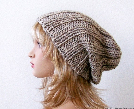 Knitting Pattern Beanie Hat Double Knitting : Knitting PATTERN Knit Slouchy Beanie Pattern Slouchy Hat