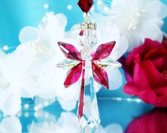Swarovski Crystal Suncatcher Red Guardian Angel Window Sun Catcher Hanging Crystals