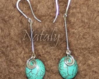 Sterling Silver Dangle Turquoise Earrings