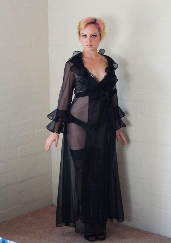 Vintage Mid Century Sexy Boudoir Black Sheer Robe , Loads Of Glamorous Ruffles  - Medium / Large