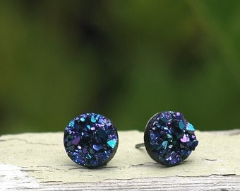 Faux Druzy Stud Earrings - Blue, Purple and Black Glitter, 10 mm Faux Druzy Posts