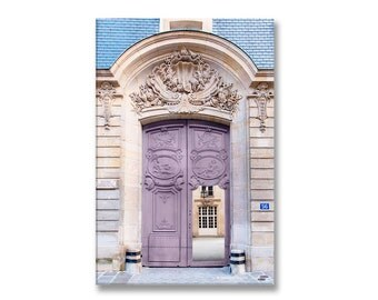 Paris Door Photograph on Canvas, Mauve Door, Gallery Wrapped Canvas, Large Wall Art, French Home Decor