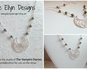 Sterling Silver and Hematite Necklace - Gifted to the Stylist of the Vampire Diaries - Mystic Grill Necklace