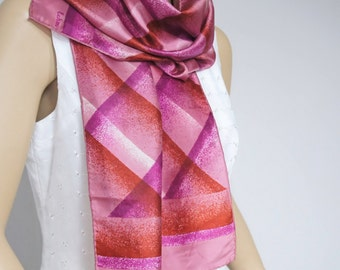 Vintage Scarf Oblong Scarf Hot Pink Purple 1980's Echo Abstract Plaid Fab Oblong