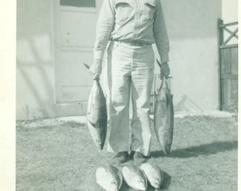 A Good Day Fishing Man Holding Fish Catch of the Day 1950s Vintage Black White Photo Photograph