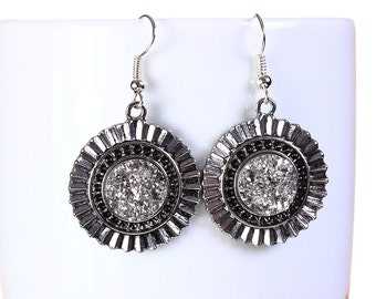 Antique silver faux dusy dangle earrings - Faux Druzy earrings - Textured earrings - Nickel free lead free earrings (796)
