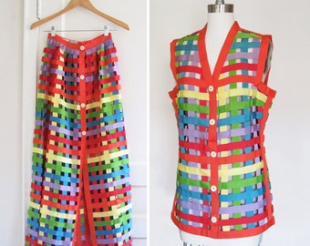 EVAN-PICONE Ultra Rare Vintage 1970s Avant Rainbow Cage Skirt and Top Suit Set sz Small