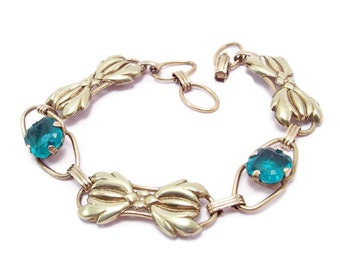 Vintage Green Rhinestone Bracelet | Vintage Gold Bow Bracelet