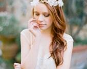 Wedding Hair Accessory, Floral headband, Pearl Bridal Headband,  Bridal, Head piece, ivory - Style 315