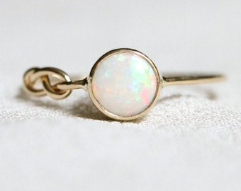 Opal Infinity Knot Ring - Delicate Solid 14k Gold Genuine AAA Opal Ring - 14k Yellow or White Gold - Natural Fiery AAA Opal Ring