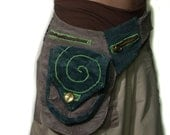 Upcycled Corduroy Pouch Belt- Steampunk Green