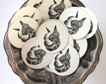 Boston Terrier Dog Tags Round Paper Gift Tags Set of 10
