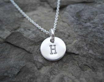 Tiny Silver Initial Necklace, Small Initial Necklace, Tiny Initial Charm, Everyday Necklace, Gifts for Women, Custom Initial Jewelry,