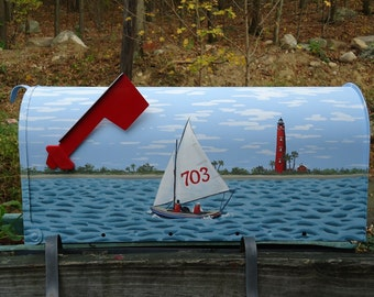 Ponce de Leon Lighthouse  and Sailboat Mailbox, Hand Painted  Beach Decor for a Housewarming Day Gift