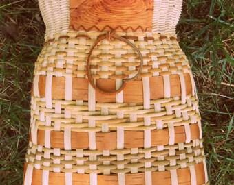 Native Inspired Cherokee Style Fish Basket with Birch Bark