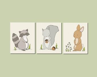 Woodland Nursery Art -- Woodland Animal Art -- Set of 3 Prints - Bunny Raccoon Squirrel Art -- Kids Wall Art