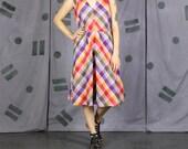 Colorful Plaid Summer Dress - Medium