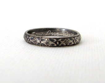 Christian Purity Ring Floral Promise Ring Antique Silver Posey Ring True Love Waits Ring Bible Verse Rings Personalized Confirmation Gift