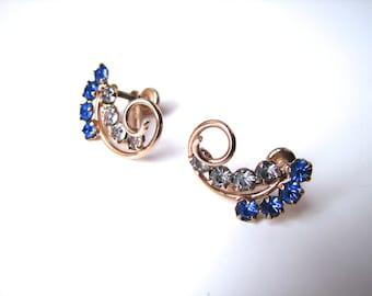Vintage 40s Earrings Blue and Crystal Curls - on sale