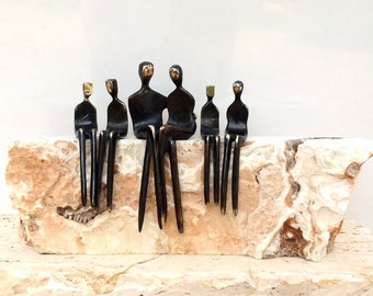 Fireplace Family: Handsome bronze family portrait for the mantel or hearth!