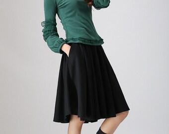 midi skirt, black skirt, linen skirt, summer skirt, circle skirt, pleated skirt, flared skirt, knee length skirt, custom skirt(776)