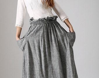 Grey maxi skirt, casual long linen skirt with elastic waist -A line skirt - Long full skirt - paper bag skirt, Custom made skirt (867)