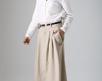 Khaki skirt, maxi skirt, long skirt, casual skirt, linen skirt, summer skirt, pleated skirt, fitted skirt, pockets skirt, gift ideas   (903)
