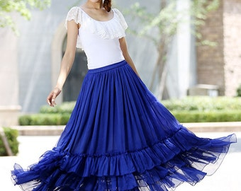 blue skirt, long blue skirt, long skirts for women, maxi chiffon skirt ,tiered skirt ,royal blue skirt,Custom made skirt (1018)