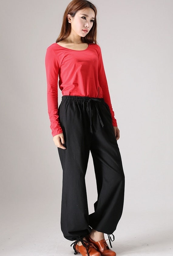 Casual Black linen trousers woman maxi pants elastic waist pant (853)