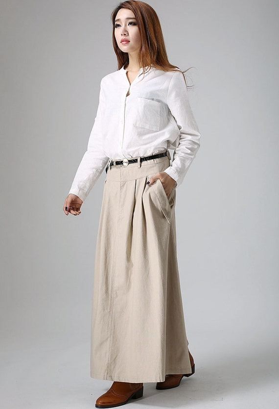 khaki skirt, long skirt, circle skirt, flared skirt, high waisted skirt, pocket skirts, summer skirt, linen skirt, handmade skirt   (903)
