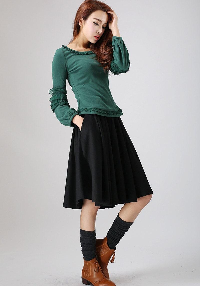 midi skirt black skirt linen skirt summer skirt circle