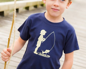 SALE Fishing Frenzy Short Sleeved Crew by Nostalgic Graphic Tees in Navy/Khaki