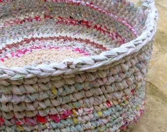 Large rag basket, Crocheted rag basket, Large storage fabric basket, Your choice of colors, MADE TO ORDER