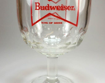 The King of Beers Budweiser Goblet, Beer Glass, Breweriana, Home Bar, Man Cave Decor, Gifts Under 10