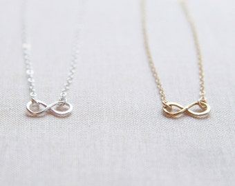 Tiny Infinity Necklace Sterling Silver or 14kt Gold Filled