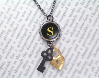 Vintage Typewriter Initial Necklace With Initial S - Typewriter Key Jewelry From HauteKeys