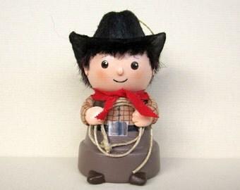 Cowboy Flowerpot Bell Ornament