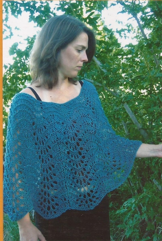 Lace Poncho Knitting Pattern : Items similar to Easy Lace Poncho Knitting Pure & Simple Knitting Pattern...