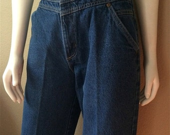 Vintage Women's 80's High Waisted, Cropped Jeans, Blue, Denim (M)