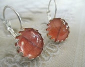Ombre Red Oak Leaves Under Glass-Crown Bezel Leverback Earrings-Symbolizes Strength,Courage-Gifts Under 30-Autumn Inspired-Nature's Art