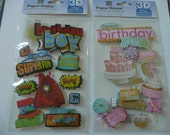 HAPPY BIRTHDAY, Boy or Girl - Paper House, Jolee's Scrapbooking 3d stickers - Cake, Presents, Decorations