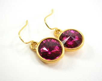 Dark Pink Crystal Gold Drop Earrings Gold Dark Pink Crystal Earrings Dark Pink Earrings Gold Dangle Earrings