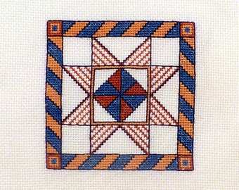 Vintage Geometric Needlepoint / Embroidery geometry diamonds / Needlepoint wall hanging home decor Handmade pop art decor, 7x7