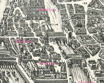 Old Paris at the River Seine and Notre Dame.  Digital download of vintage map 17th century woodcut. DIY background image.