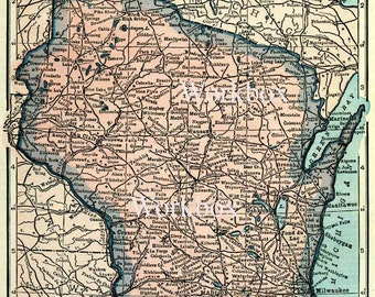 Wisconsin state map.  DIY digital download of vintage 1920s map, in pastel pinks and blues. DIY background image.