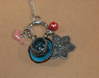 Spring Bird Nest Charm Necklace