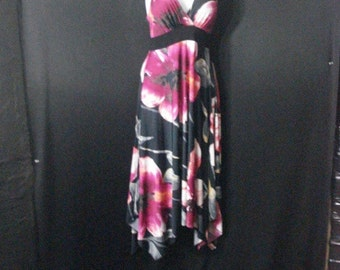 Black Floral Dress Plunging V Neckline Chic Stretchy Dress S
